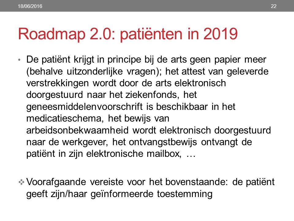Roadmap 2.0: patiënten in 2019 De patiënt krijgt in principe bij de arts geen papier meer (behalve uitzonderlijke vragen); het attest van geleverde ve