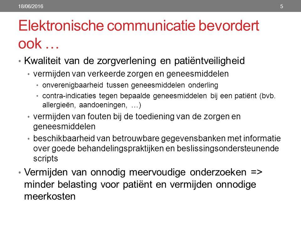 Elektronische communicatie bevordert ook … Kwaliteit van de zorgverlening en patiëntveiligheid vermijden van verkeerde zorgen en geneesmiddelen onvere