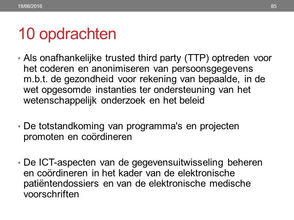 10 opdrachten Als onafhankelijke trusted third party (TTP) optreden voor het coderen en anonimiseren van persoonsgegevens m.b.t. de gezondheid voor re