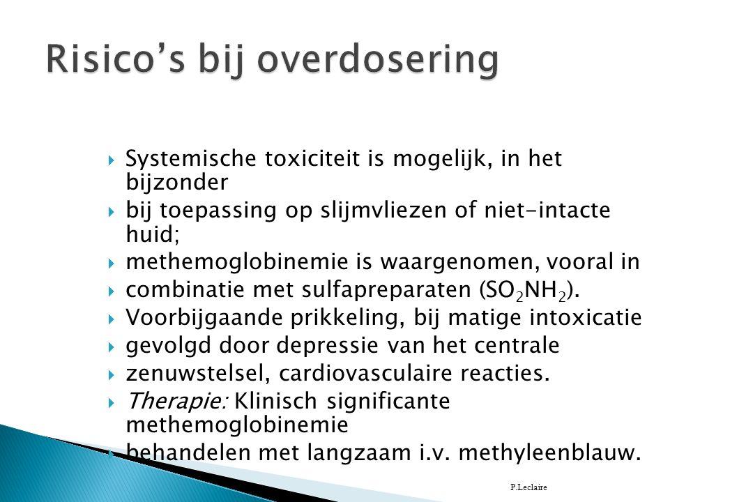  Systemische toxiciteit is mogelijk, in het bijzonder  bij toepassing op slijmvliezen of niet-intacte huid;  methemoglobinemie is waargenomen, vooral in  combinatie met sulfapreparaten (SO 2 NH 2 ).