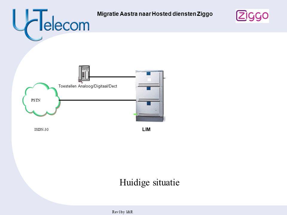 Rev1by l&R Migratie Aastra naar Hosted diensten Ziggo LIM Huidige situatie Toestellen Analoog/Digitaal/Dect PSTN ISDN-30