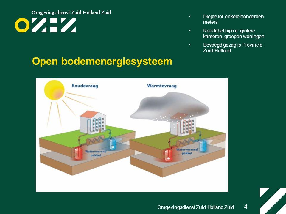 4 Omgevingsdienst Zuid-Holland Zuid Open bodemenergiesysteem Diepte tot enkele honderden meters Rendabel bij o.a.