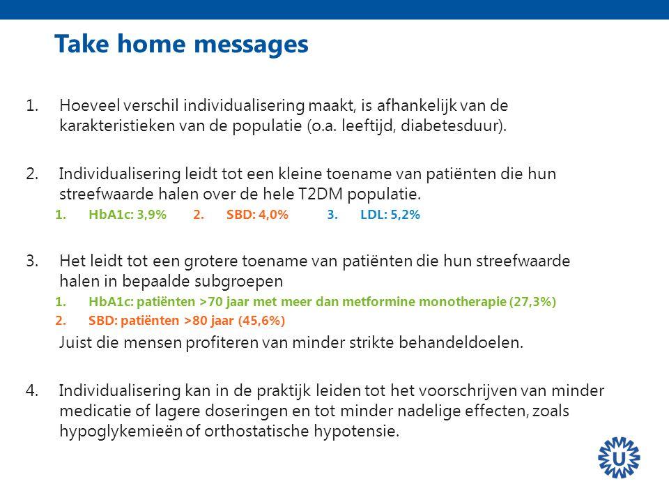 Take home messages 1.Hoeveel verschil individualisering maakt, is afhankelijk van de karakteristieken van de populatie (o.a.