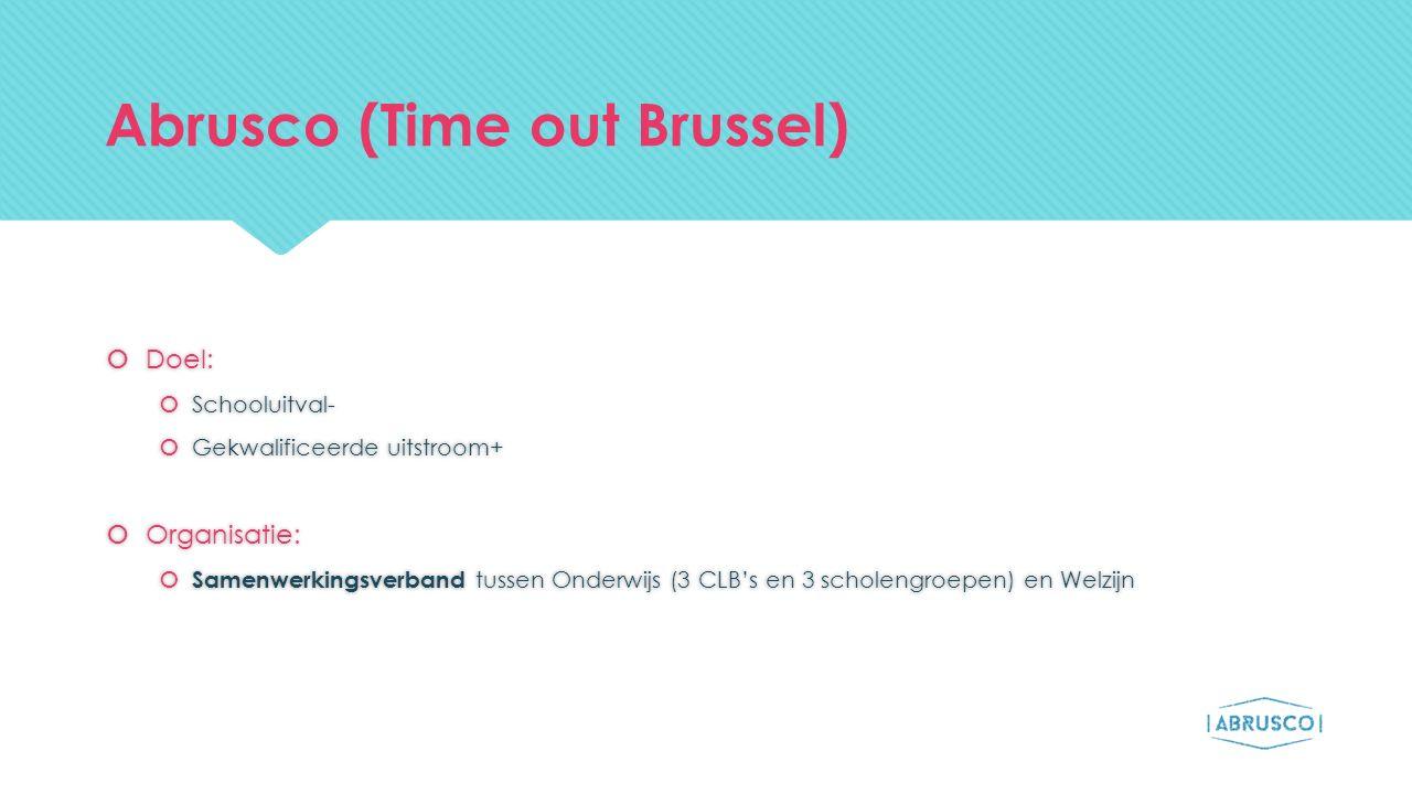 Abrusco (Time out Brussel)  Doel:  Schooluitval-  Gekwalificeerde uitstroom+  Organisatie:  Samenwerkingsverband tussen Onderwijs (3 CLB's en 3 s
