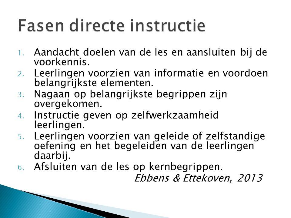1. Aandacht doelen van de les en aansluiten bij de voorkennis. 2. Leerlingen voorzien van informatie en voordoen belangrijkste elementen. 3. Nagaan op