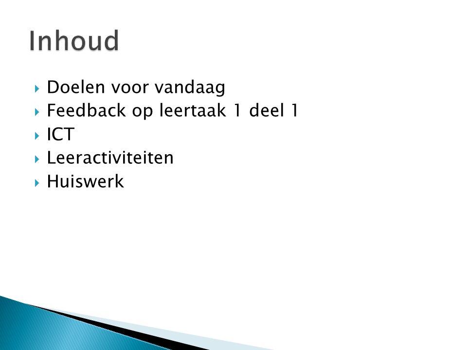  Doelen voor vandaag  Feedback op leertaak 1 deel 1  ICT  Leeractiviteiten  Huiswerk