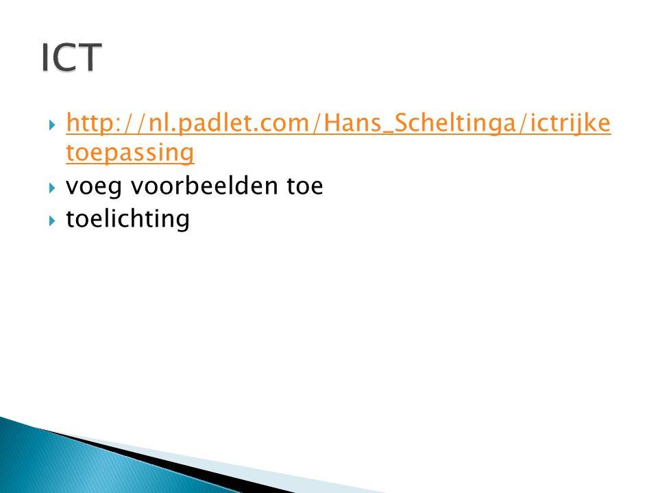  http://nl.padlet.com/Hans_Scheltinga/ictrijke toepassing http://nl.padlet.com/Hans_Scheltinga/ictrijke toepassing  voeg voorbeelden toe  toelichti