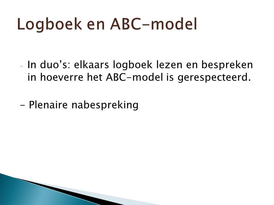 - In duo's: elkaars logboek lezen en bespreken in hoeverre het ABC-model is gerespecteerd.
