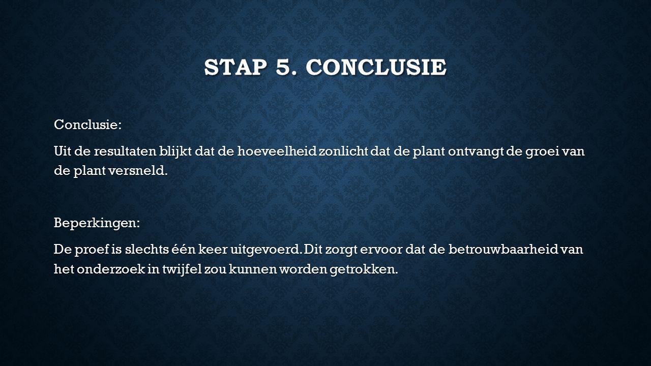 STAP 5. CONCLUSIE Conclusie: Uit de resultaten blijkt dat de hoeveelheid zonlicht dat de plant ontvangt de groei van de plant versneld. Beperkingen: D