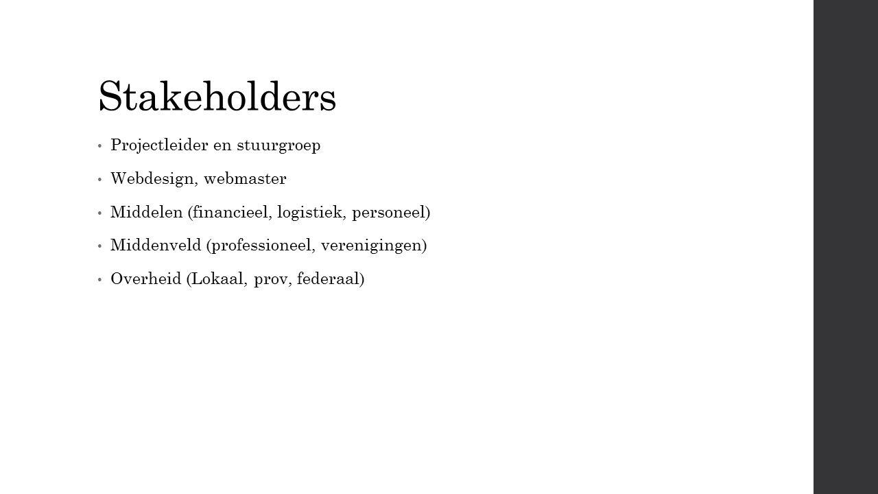 Stakeholders Projectleider en stuurgroep Webdesign, webmaster Middelen (financieel, logistiek, personeel) Middenveld (professioneel, verenigingen) Overheid (Lokaal, prov, federaal)