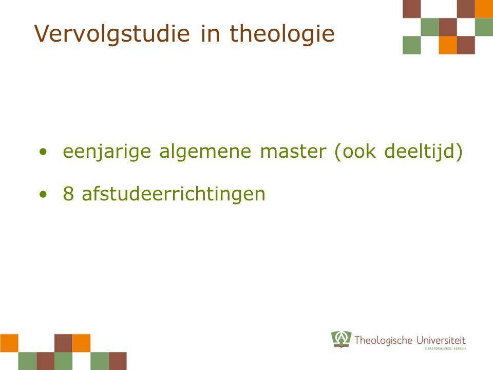 Vervolgstudie in theologie eenjarige algemene master (ook deeltijd) 8 afstudeerrichtingen