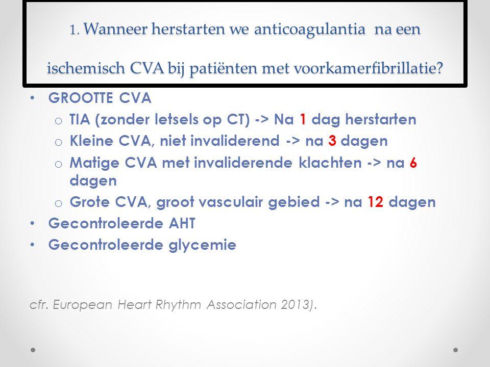 1. Wanneer herstarten we anticoagulantia na een ischemisch CVA bij patiënten met voorkamerfibrillatie? GROOTTE CVA o TIA (zonder letsels op CT) -> Na