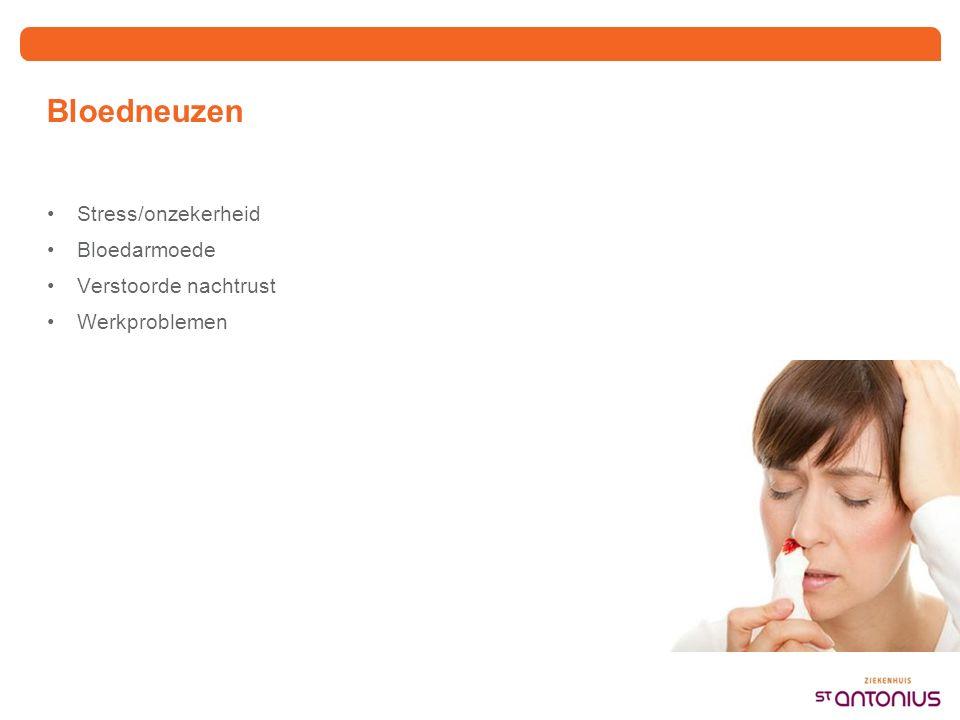 Bloedarmoede Vaak veroorzaakt door gebrek aan ijzer Streven: Zo min mogelijk neusbloedingen (bv via KNO arts, vermijden uitlokkende factoren) IJzer voldoende suppleren (tablet, infuus, bloedtransfusie) CAVE ook vitaminen tekort of andere oorzaken bloedarmoede.