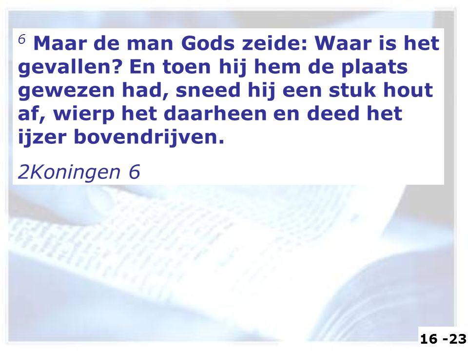 6 Maar de man Gods zeide: Waar is het gevallen? En toen hij hem de plaats gewezen had, sneed hij een stuk hout af, wierp het daarheen en deed het ijze