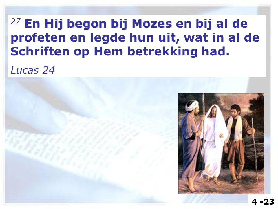 Hij begon bij Mozes 27 En Hij begon bij Mozes en bij al de profeten en legde hun uit, wat in al de Schriften op Hem betrekking had. Lucas 24 4 -23