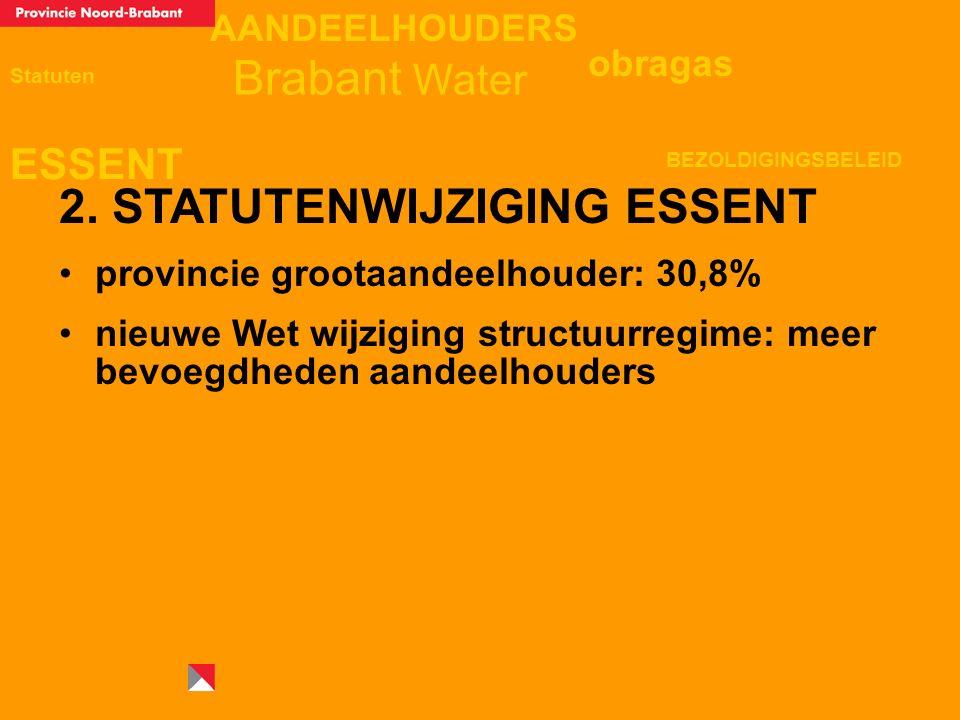 AANDEELHOUDERS ESSENT Statuten obragas BEZOLDIGINGSBELEID Brabant Water 2. STATUTENWIJZIGING ESSENT provincie grootaandeelhouder: 30,8% nieuwe Wet wij