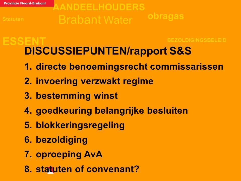 AANDEELHOUDERS ESSENT Statuten obragas BEZOLDIGINGSBELEID Brabant Water DISCUSSIEPUNTEN/rapport S&S 1. directe benoemingsrecht commissarissen 2. invoe