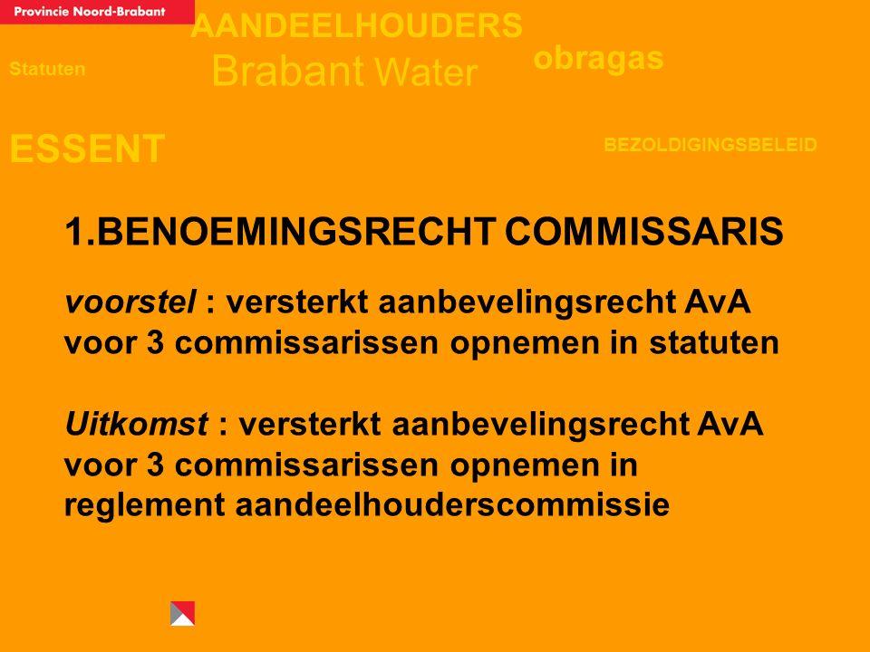 AANDEELHOUDERS ESSENT Statuten obragas BEZOLDIGINGSBELEID Brabant Water 1.BENOEMINGSRECHT COMMISSARIS voorstel : versterkt aanbevelingsrecht AvA voor