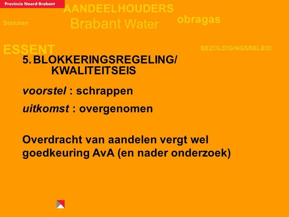 AANDEELHOUDERS ESSENT Statuten obragas BEZOLDIGINGSBELEID Brabant Water 5.BLOKKERINGSREGELING/ KWALITEITSEIS voorstel : schrappen uitkomst : overgenomen Overdracht van aandelen vergt wel goedkeuring AvA (en nader onderzoek)