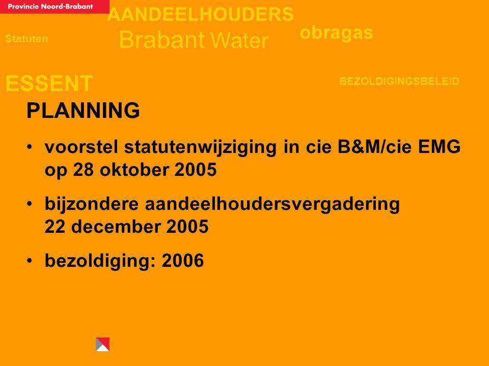 AANDEELHOUDERS ESSENT Statuten obragas BEZOLDIGINGSBELEID Brabant Water PLANNING voorstel statutenwijziging in cie B&M/cie EMG op 28 oktober 2005 bijzondere aandeelhoudersvergadering 22 december 2005 bezoldiging: 2006