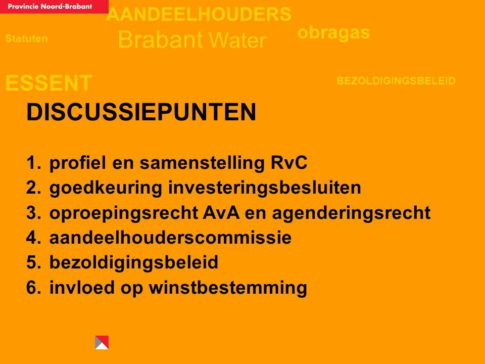 AANDEELHOUDERS ESSENT Statuten obragas BEZOLDIGINGSBELEID Brabant Water DISCUSSIEPUNTEN 1.