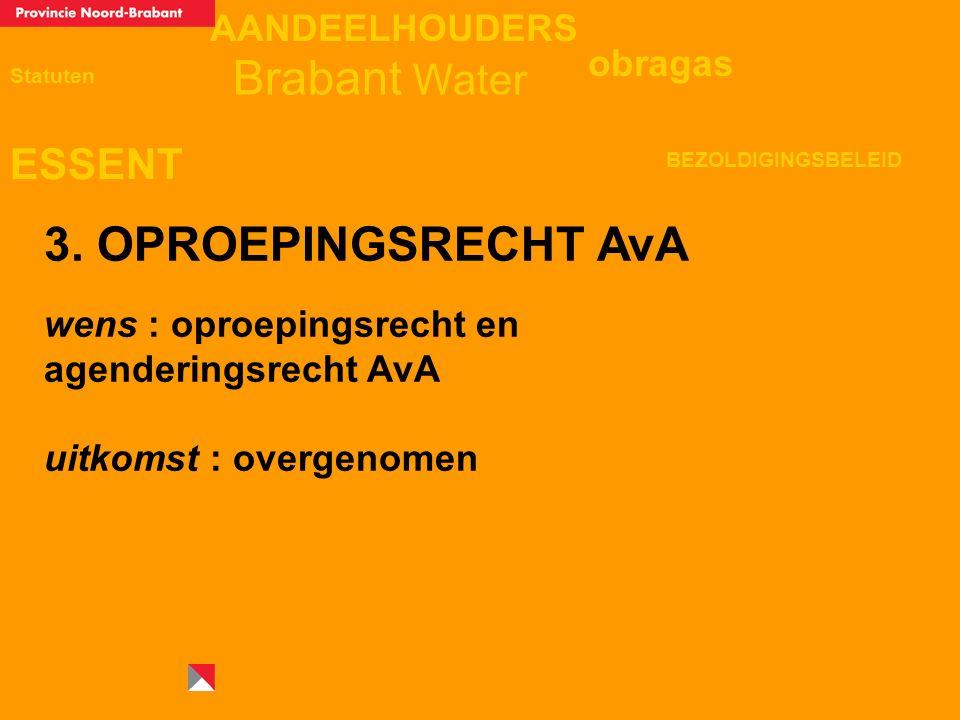 AANDEELHOUDERS ESSENT Statuten obragas BEZOLDIGINGSBELEID Brabant Water 3. OPROEPINGSRECHT AvA wens : oproepingsrecht en agenderingsrecht AvA uitkomst