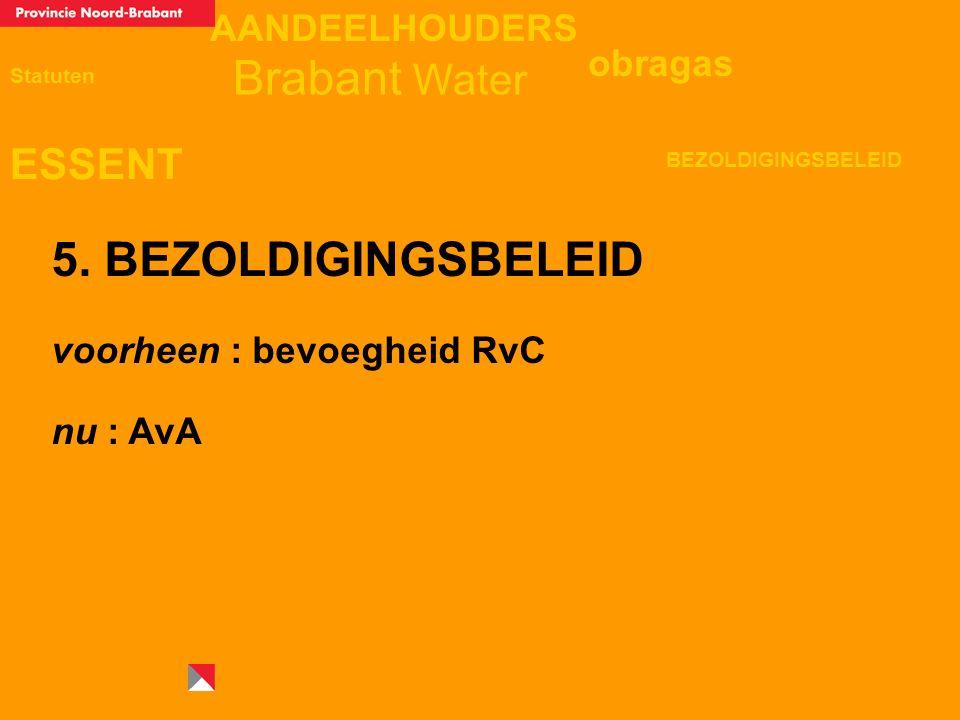 AANDEELHOUDERS ESSENT Statuten obragas BEZOLDIGINGSBELEID Brabant Water 5. BEZOLDIGINGSBELEID voorheen : bevoegheid RvC nu : AvA