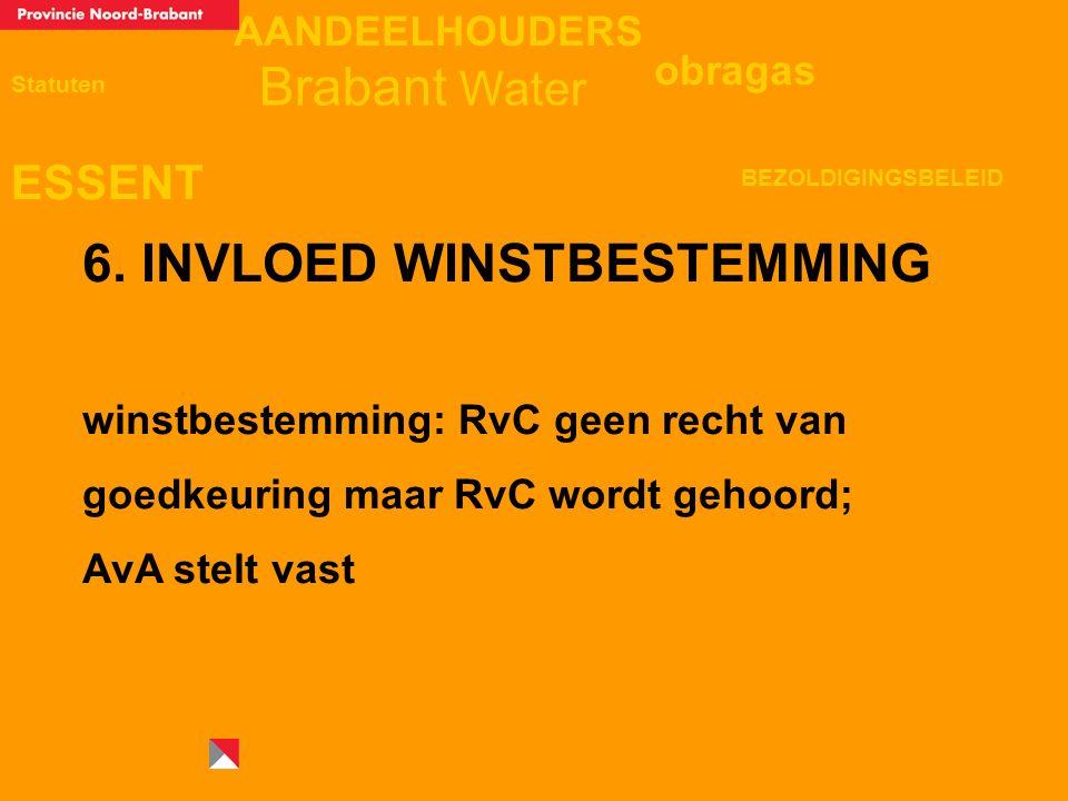 AANDEELHOUDERS ESSENT Statuten obragas BEZOLDIGINGSBELEID Brabant Water 6. INVLOED WINSTBESTEMMING winstbestemming: RvC geen recht van goedkeuring maa