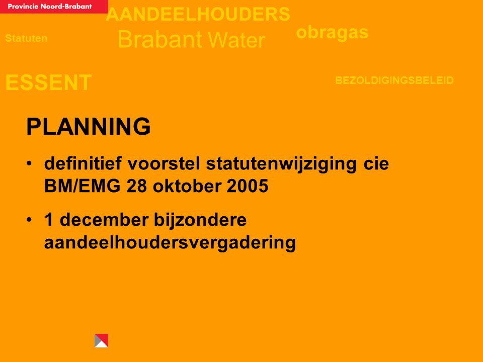 AANDEELHOUDERS ESSENT Statuten obragas BEZOLDIGINGSBELEID Brabant Water PLANNING definitief voorstel statutenwijziging cie BM/EMG 28 oktober 2005 1 december bijzondere aandeelhoudersvergadering