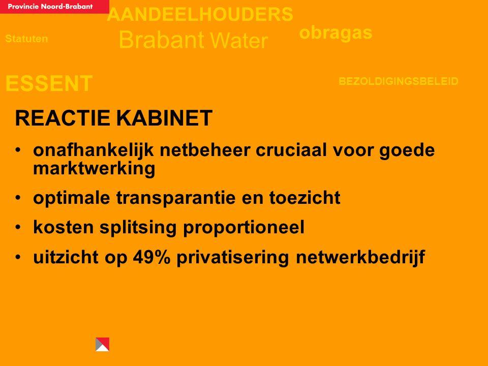AANDEELHOUDERS ESSENT Statuten obragas BEZOLDIGINGSBELEID Brabant Water REACTIE KABINET onafhankelijk netbeheer cruciaal voor goede marktwerking optimale transparantie en toezicht kosten splitsing proportioneel uitzicht op 49% privatisering netwerkbedrijf