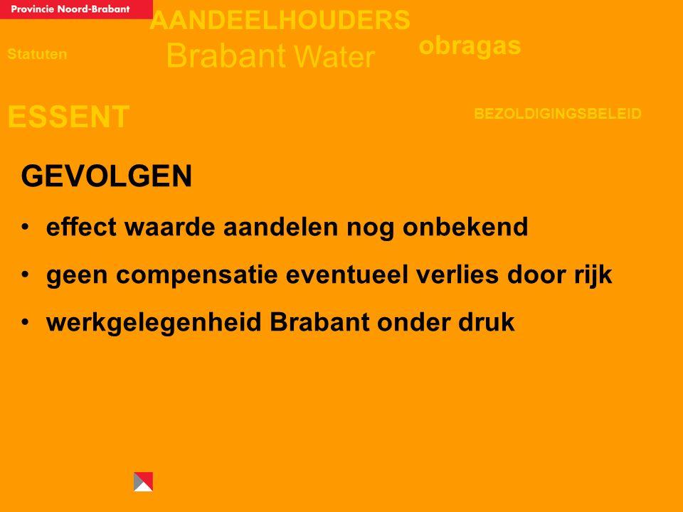 AANDEELHOUDERS ESSENT Statuten obragas BEZOLDIGINGSBELEID Brabant Water GEVOLGEN effect waarde aandelen nog onbekend geen compensatie eventueel verlies door rijk werkgelegenheid Brabant onder druk