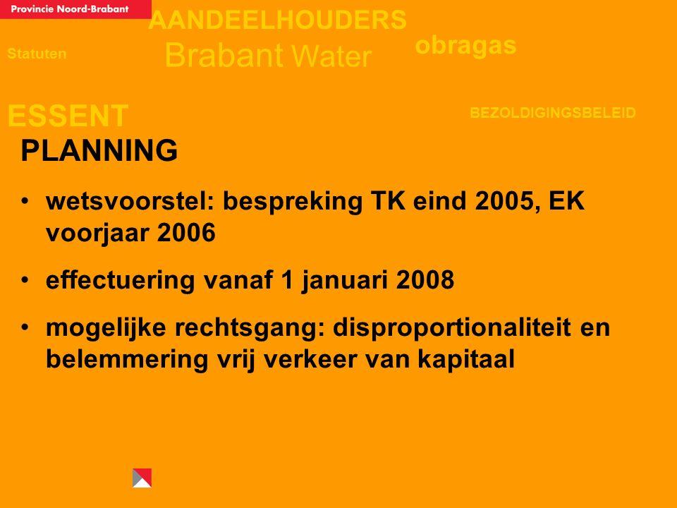 AANDEELHOUDERS ESSENT Statuten obragas BEZOLDIGINGSBELEID Brabant Water PLANNING wetsvoorstel: bespreking TK eind 2005, EK voorjaar 2006 effectuering vanaf 1 januari 2008 mogelijke rechtsgang: disproportionaliteit en belemmering vrij verkeer van kapitaal