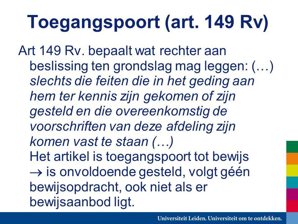 Toegangspoort (art. 149 Rv) Art 149 Rv.