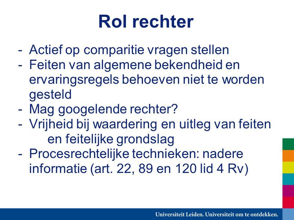 Rol rechter -Actief op comparitie vragen stellen -Feiten van algemene bekendheid en ervaringsregels behoeven niet te worden gesteld -Mag googelende rechter.