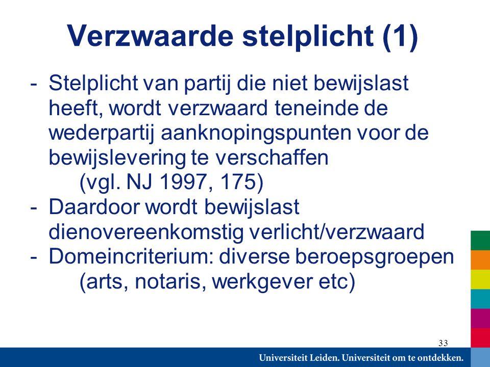 33 Verzwaarde stelplicht (1) -Stelplicht van partij die niet bewijslast heeft, wordt verzwaard teneinde de wederpartij aanknopingspunten voor de bewijslevering te verschaffen (vgl.