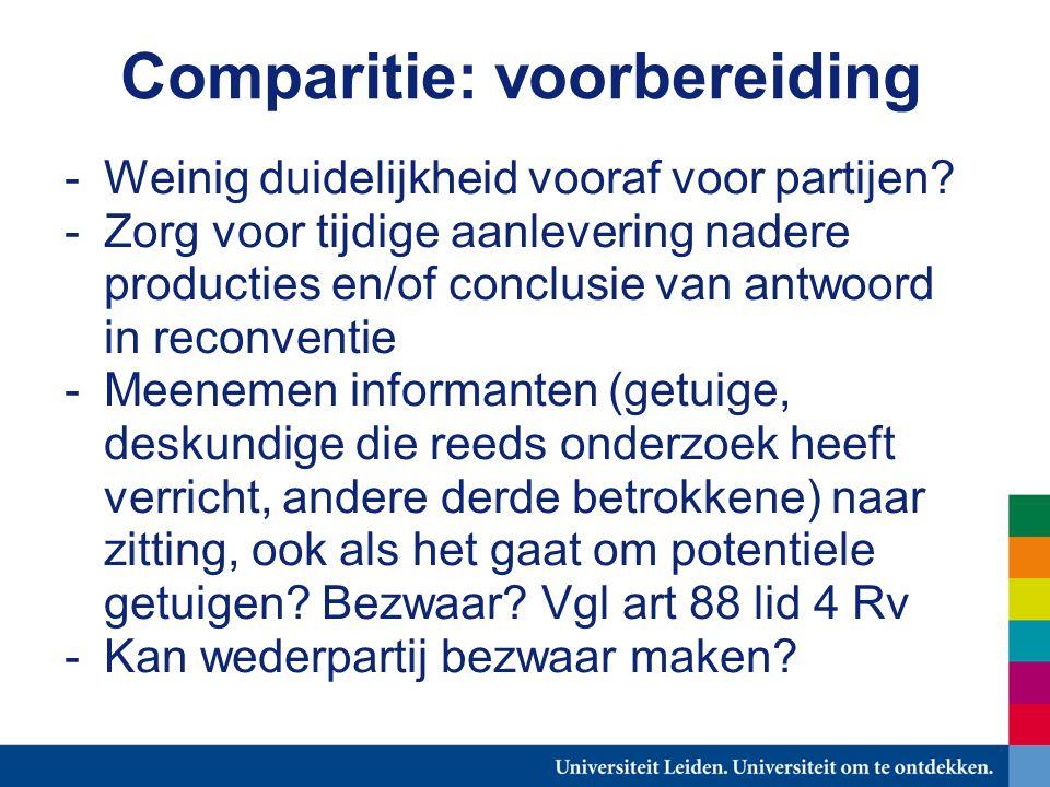 Comparitie: voorbereiding -Weinig duidelijkheid vooraf voor partijen.