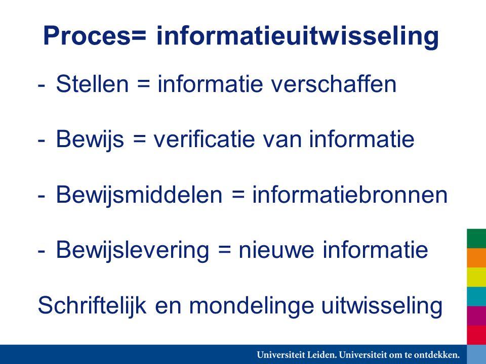Proces= informatieuitwisseling -Stellen = informatie verschaffen -Bewijs = verificatie van informatie -Bewijsmiddelen = informatiebronnen -Bewijslevering = nieuwe informatie Schriftelijk en mondelinge uitwisseling
