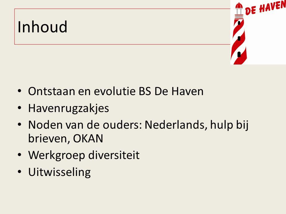 Inhoud Ontstaan en evolutie BS De Haven Havenrugzakjes Noden van de ouders: Nederlands, hulp bij brieven, OKAN Werkgroep diversiteit Uitwisseling