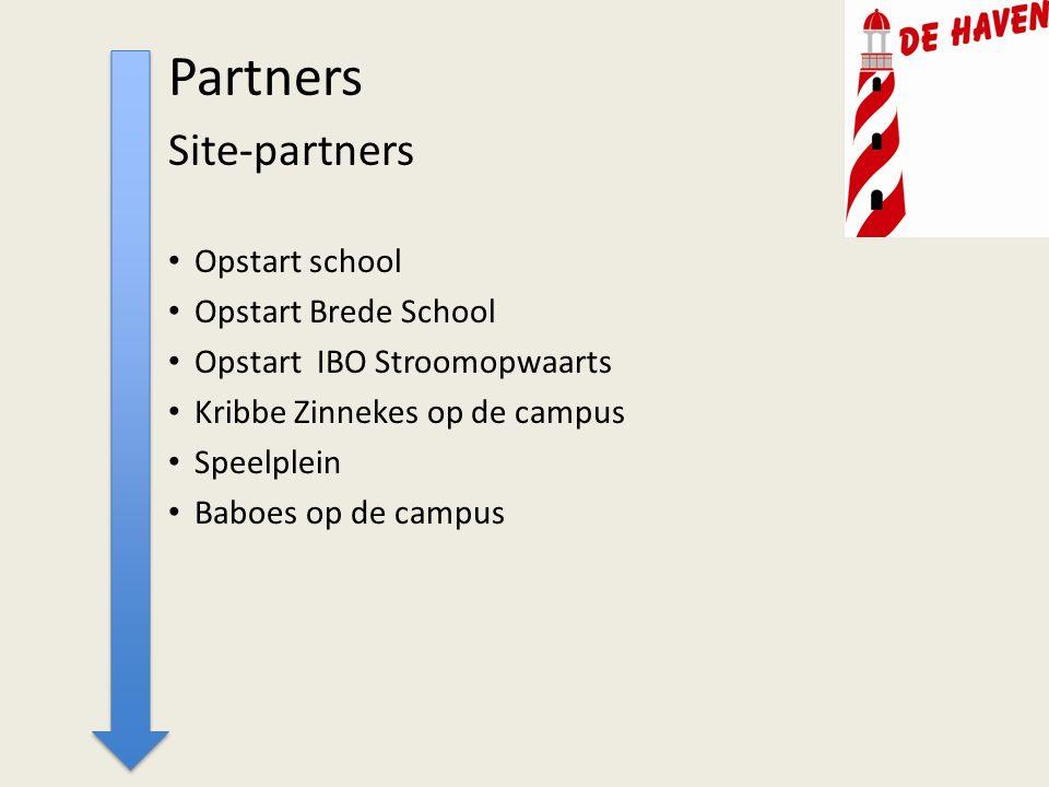Partners Site-partners Opstart school Opstart Brede School Opstart IBO Stroomopwaarts Kribbe Zinnekes op de campus Speelplein Baboes op de campus