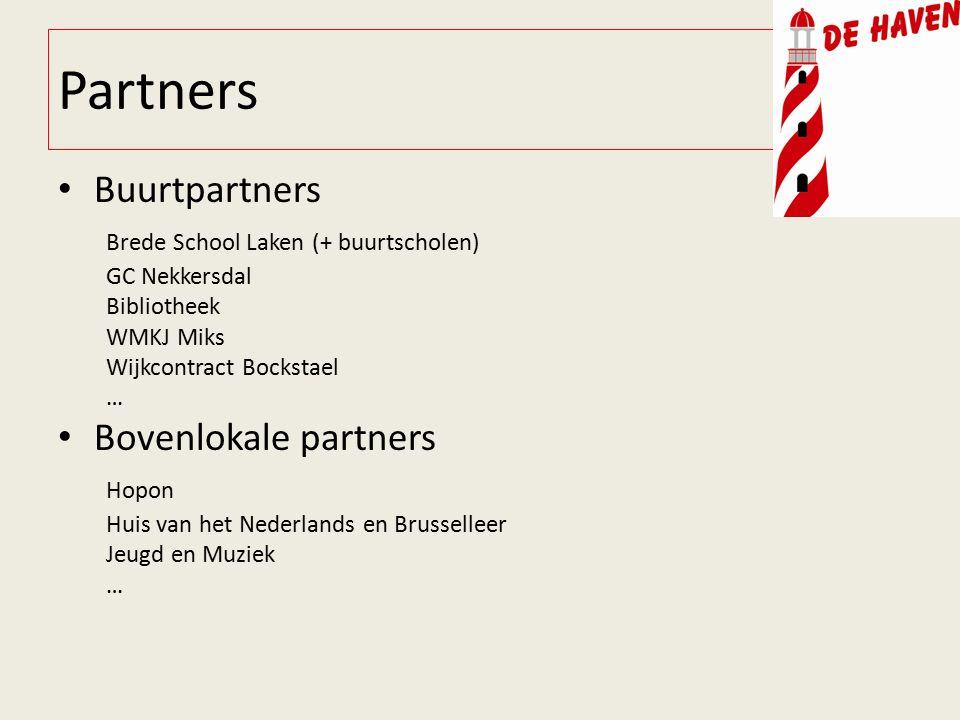 Partners Buurtpartners Brede School Laken (+ buurtscholen) GC Nekkersdal Bibliotheek WMKJ Miks Wijkcontract Bockstael … Bovenlokale partners Hopon Huis van het Nederlands en Brusselleer Jeugd en Muziek …