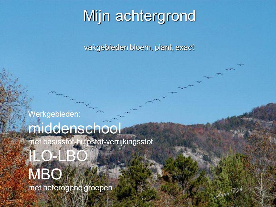 Mijn achtergrond vakgebieden bloem, plant, exact Werkgebieden: middenschool met basisstof-hulpstof-verrijkingsstof ILO-LBO MBO met heterogene groepen