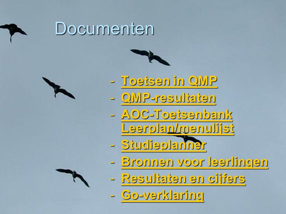 Documenten -Toetsen in QMP Toetsen in QMPToetsen in QMP -QMP-resultaten QMP-resultaten -AOC-Toetsenbank Leerplan/menulijst AOC-Toetsenbank Leerplan/me