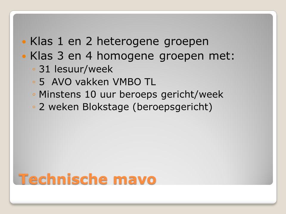 Technische mavo Klas 1 en 2 heterogene groepen Klas 3 en 4 homogene groepen met: ◦31 lesuur/week ◦5 AVO vakken VMBO TL ◦Minstens 10 uur beroeps gericht/week ◦2 weken Blokstage (beroepsgericht)