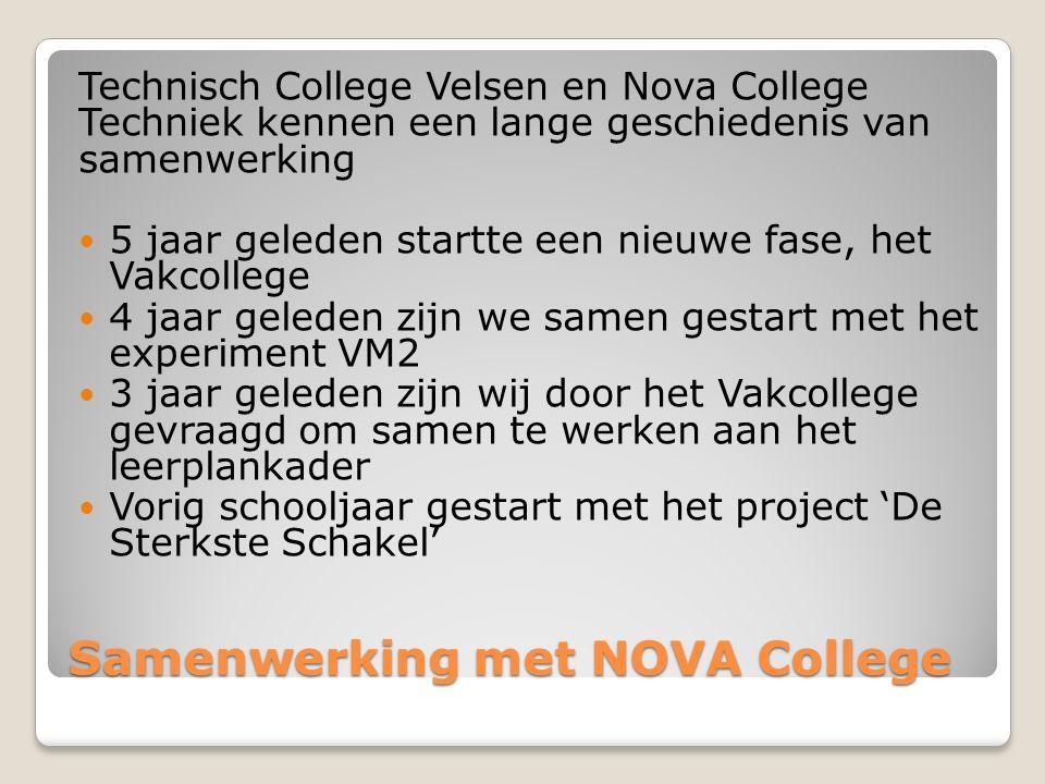 Samenwerking met NOVA College Technisch College Velsen en Nova College Techniek kennen een lange geschiedenis van samenwerking 5 jaar geleden startte een nieuwe fase, het Vakcollege 4 jaar geleden zijn we samen gestart met het experiment VM2 3 jaar geleden zijn wij door het Vakcollege gevraagd om samen te werken aan het leerplankader Vorig schooljaar gestart met het project 'De Sterkste Schakel'