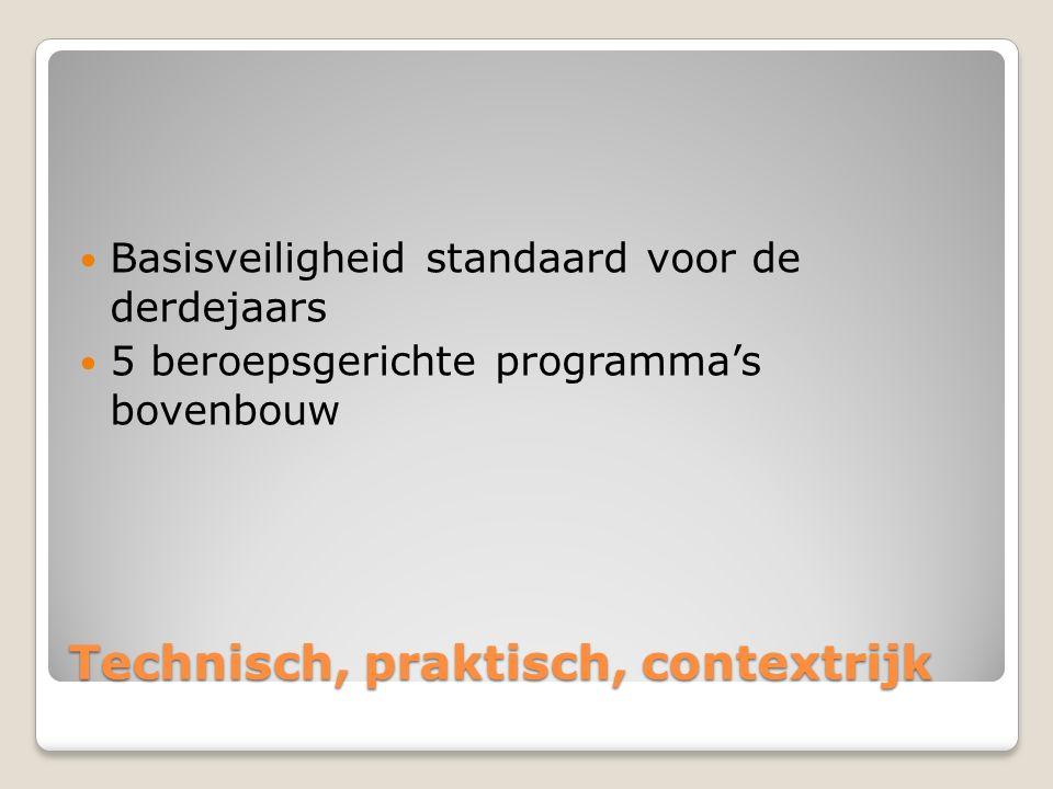 Technisch, praktisch, contextrijk Basisveiligheid standaard voor de derdejaars 5 beroepsgerichte programma's bovenbouw