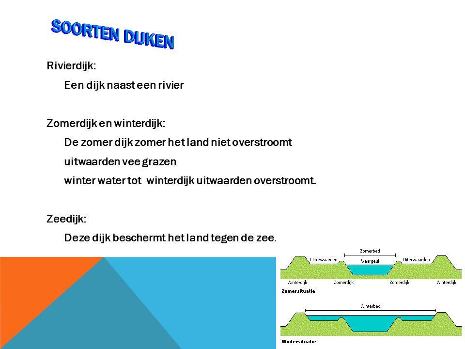 Rivierdijk: Een dijk naast een rivier Zomerdijk en winterdijk: De zomer dijk zomer het land niet overstroomt uitwaarden vee grazen winter water tot winterdijk uitwaarden overstroomt.