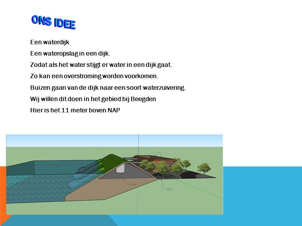 Een waterdijk Een wateropslag in een dijk. Zodat als het water stijgt er water in een dijk gaat.