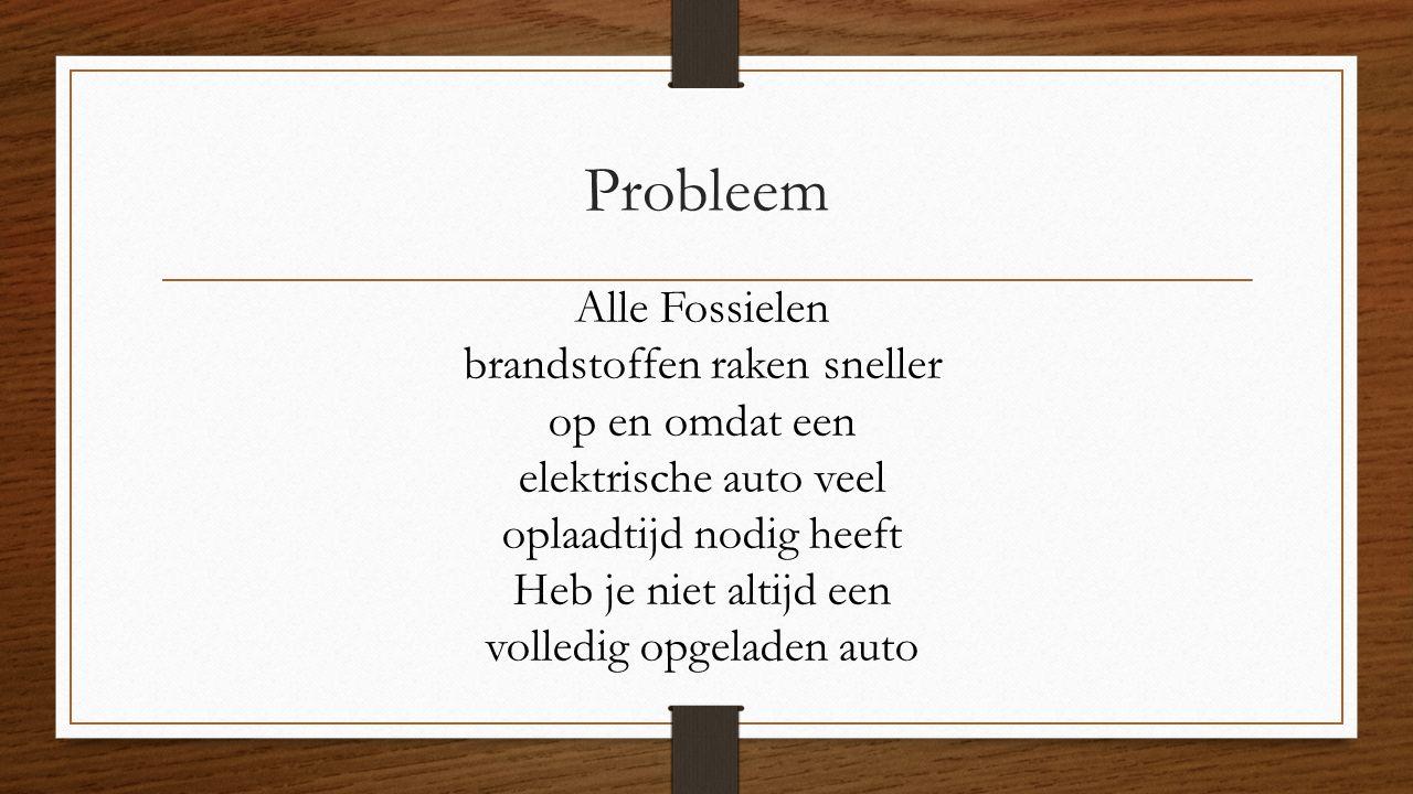 Probleem Alle Fossielen brandstoffen raken sneller op en omdat een elektrische auto veel oplaadtijd nodig heeft Heb je niet altijd een volledig opgeladen auto