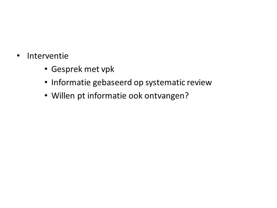 Interventie Gesprek met vpk Informatie gebaseerd op systematic review Willen pt informatie ook ontvangen?