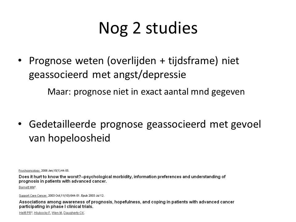 Nog 2 studies Prognose weten (overlijden + tijdsframe) niet geassocieerd met angst/depressie Maar: prognose niet in exact aantal mnd gegeven Gedetailleerde prognose geassocieerd met gevoel van hopeloosheid